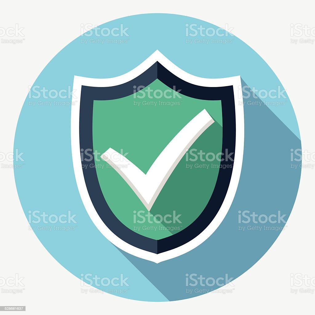 Vector shield with check mark icon vector art illustration