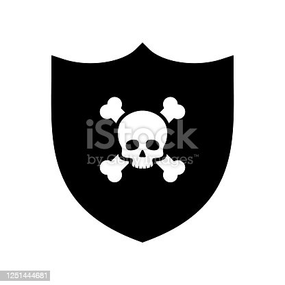 Vector Shield With Cross Bones and Skull Illustration