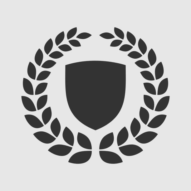 ilustrações, clipart, desenhos animados e ícones de vector escudo com a coroa de louros insignia - molduras de certificados e premiações