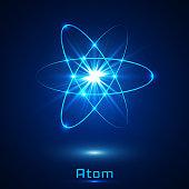 Vector shining neon lights atom model