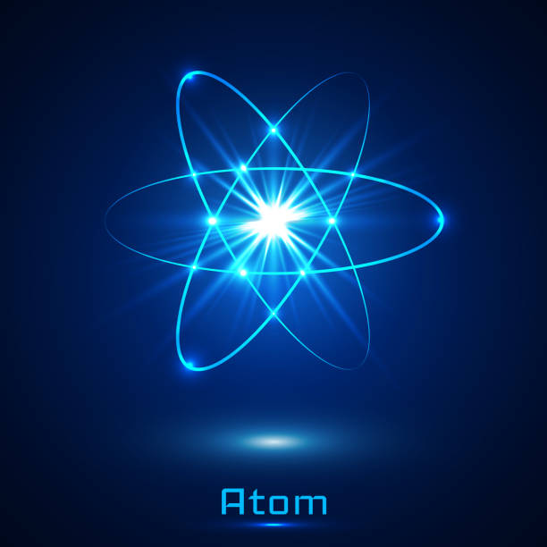 Vector shining neon lights atom model vector art illustration