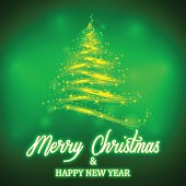 Vector shiny green Christmas tree with neon Merry Christmas and Happy New Year lettering on colorful background. Template for winter holidays.