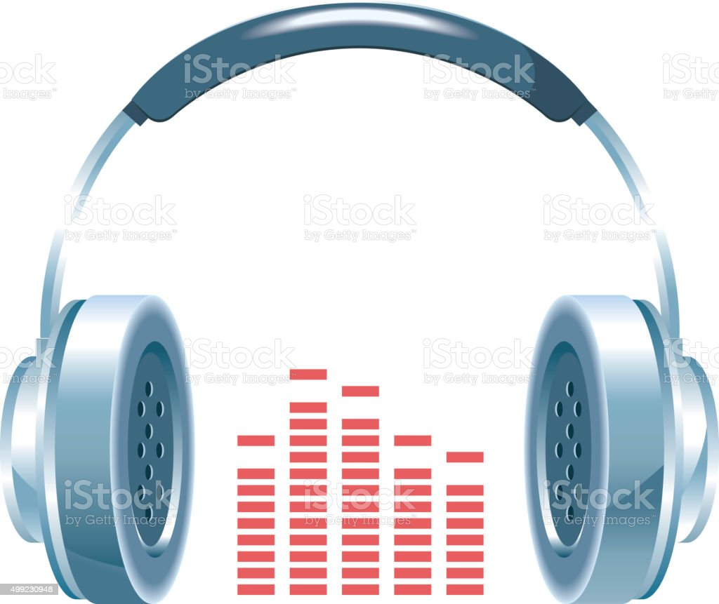vector shiny headphones vector art illustration