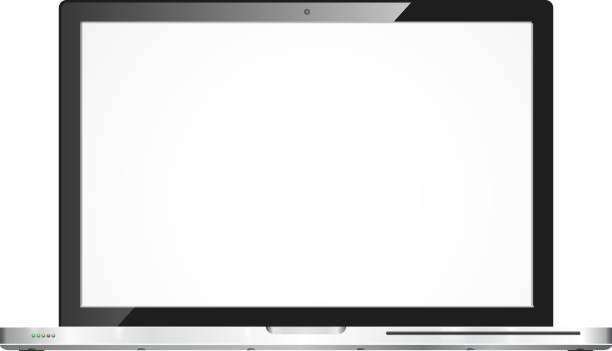 stockillustraties, clipart, cartoons en iconen met vector shiny open laptop - stroom activiteit