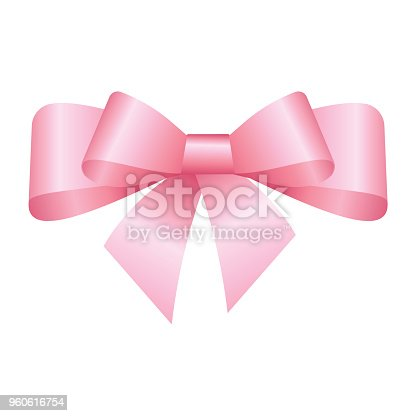 Vector Shiny Pink Satin Gift Bow Close up Isolated on White Background
