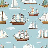 Vector ship boat miniature vessel old vintage sailboat souvenir sea shipping travel white canvase seamless pattern background. Adventure sailboats.
