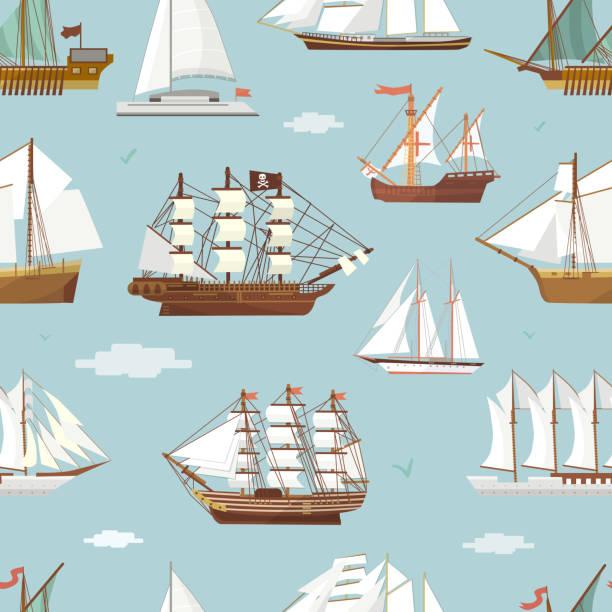 vector ship boat miniature vessel old vintage sailboat souvenir sea shipping travel white canvase seamless pattern background. adventure sailboats - statek stock illustrations