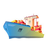 Vector Ship logistics and transportation. Global courier delivery services. Online tracking system. Engraved ink art. Isolated delivery illustration element.