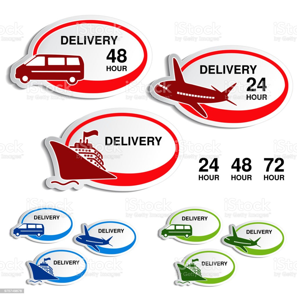 Vektor, Versand, Lieferung ovale Aufkleber - Auto, Schiff, Flugzeug - Lizenzfrei Auto Vektorgrafik