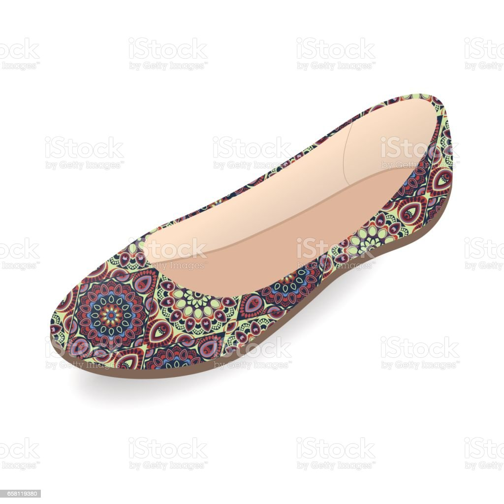 d3a7c7d6d Vector shoes, women's ballet slippers with multicolor ornament, isolated  royalty-free vector shoes