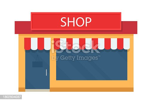 istock Vector shop facade isolated on white background. 1302504037