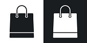 Vector shopping bag icon. Two-tone version on black and white background
