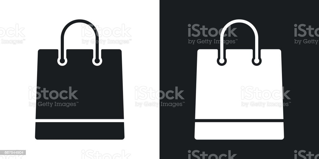 Vector shopping bag icon. Two-tone version on black and white background vector art illustration