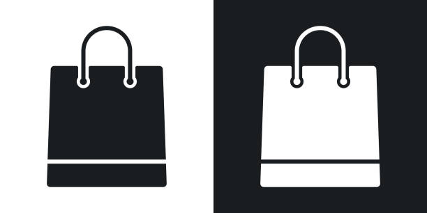 illustrazioni stock, clip art, cartoni animati e icone di tendenza di vector shopping bag icon. two-tone version on black and white background - acquisti