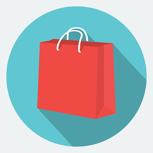 vector shopping bag icon - shopping bags stock illustrations