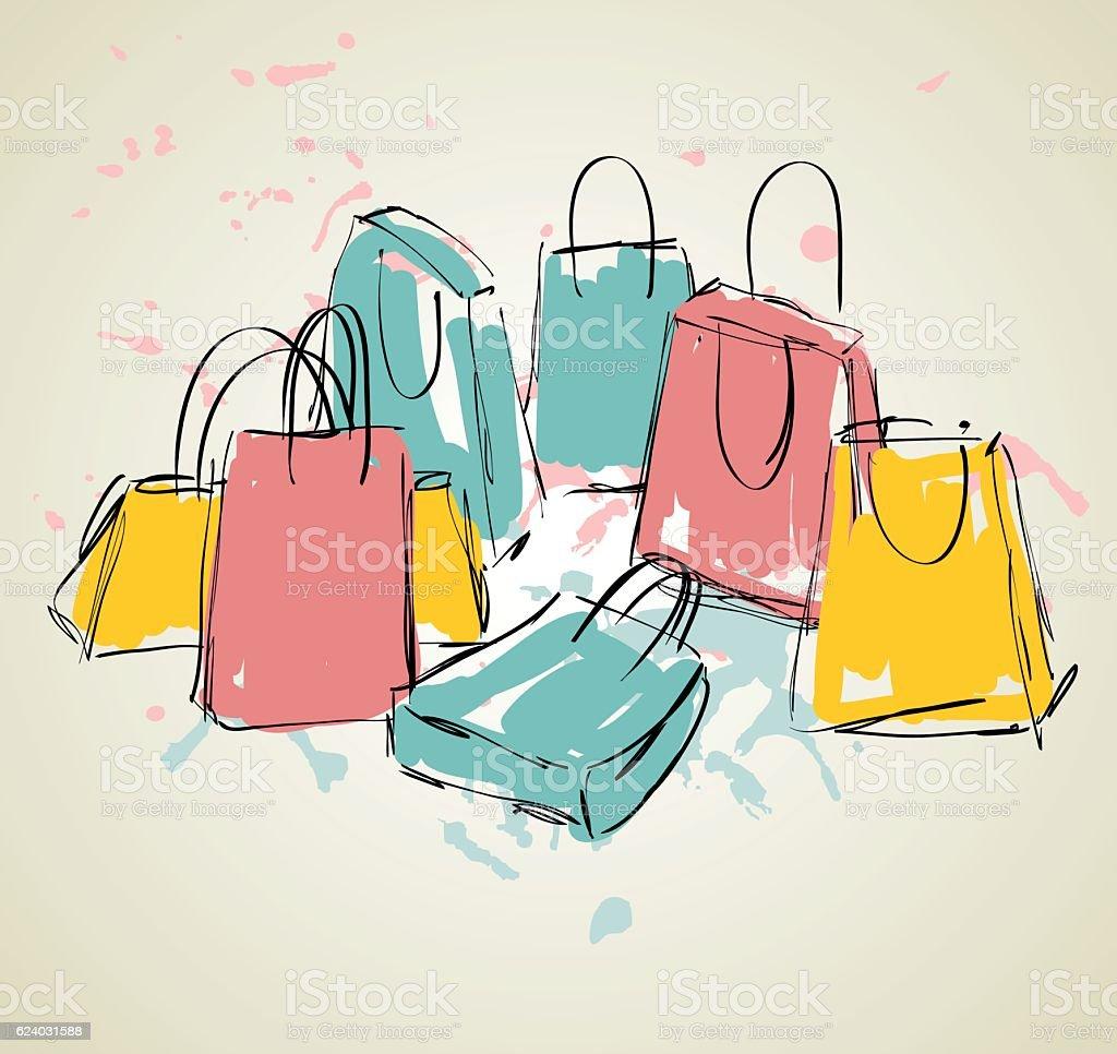 vector shopping bags vector art illustration