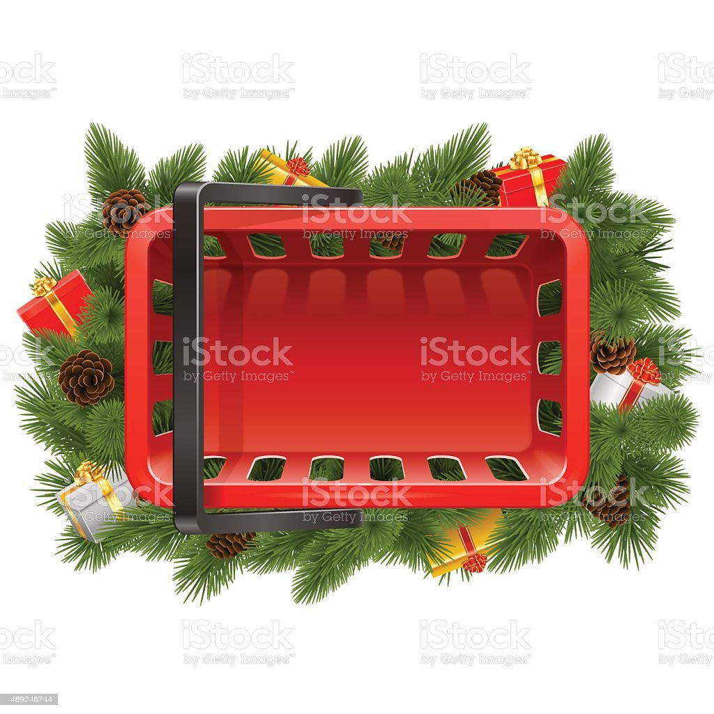 vector shopping basket with christmas decorations royalty free vector shopping basket with christmas decorations stock - Christmas Basket Decorations