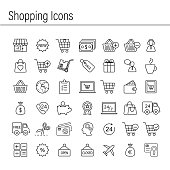 Vector shopping commerce icon set. single line