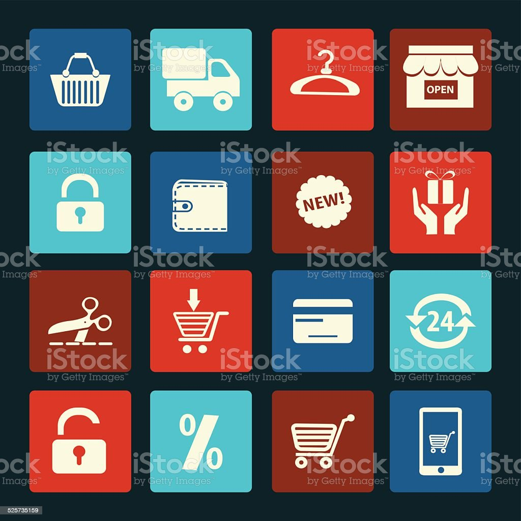 Flat icons set of Shopping related vector icons..