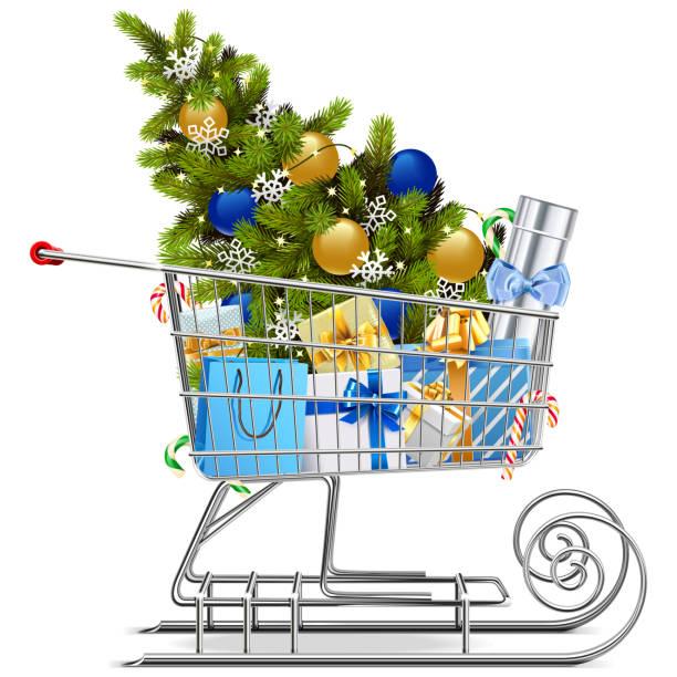 illustrazioni stock, clip art, cartoni animati e icone di tendenza di vector shopping sled with christmas decorations - negozio sci