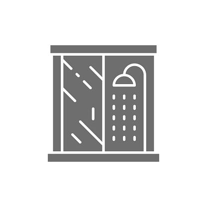 Vector shower cabin, bathroom furniture grey icon.