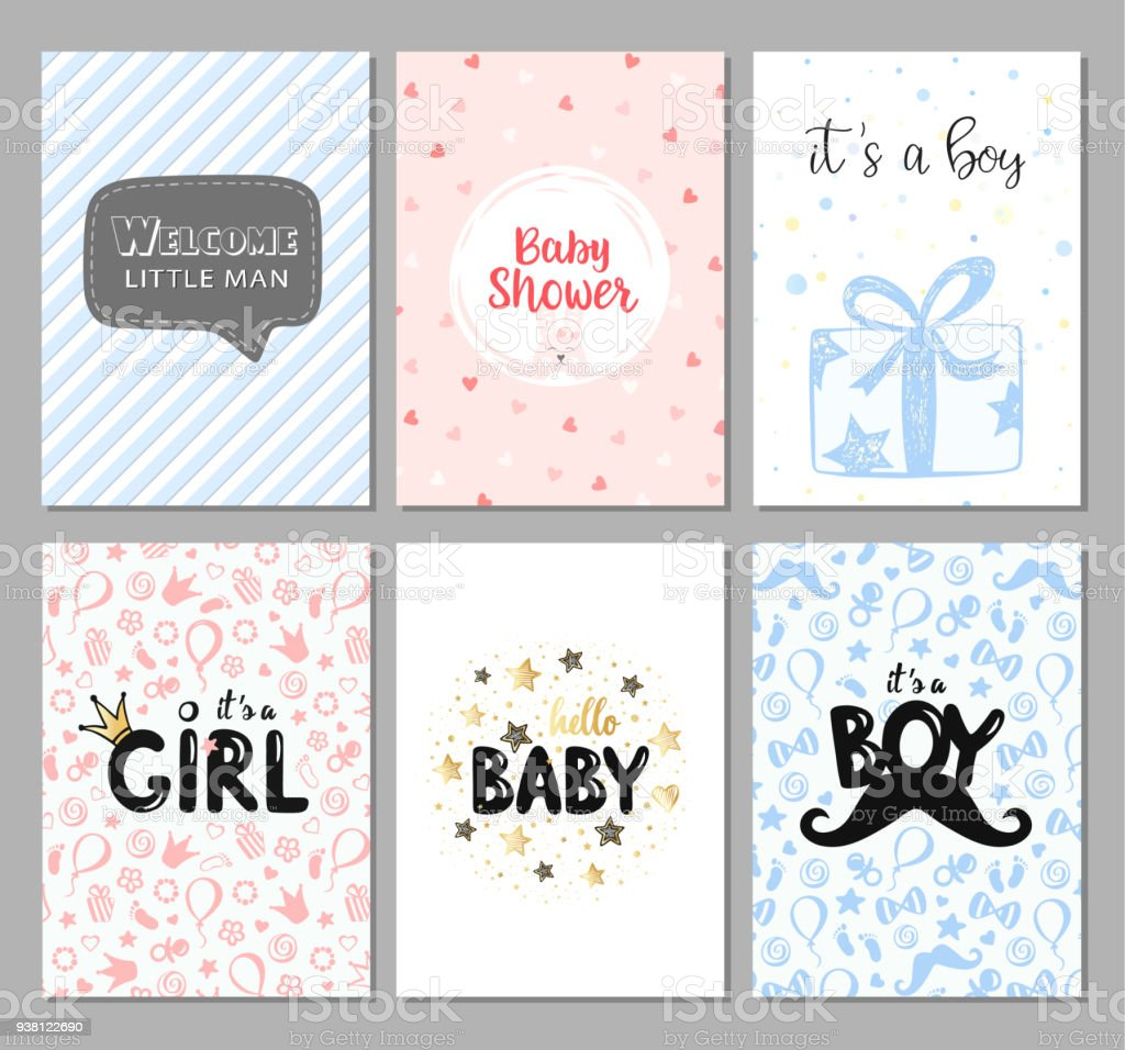 Vector Shower Cards For Baby Boys And Girls Baby Shower Invitations