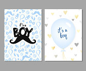 Vector set of blue baby shower cards for baby boys. It's a boy card. Vector invitation with cute pattern, balloon. Baby arrival and shower
