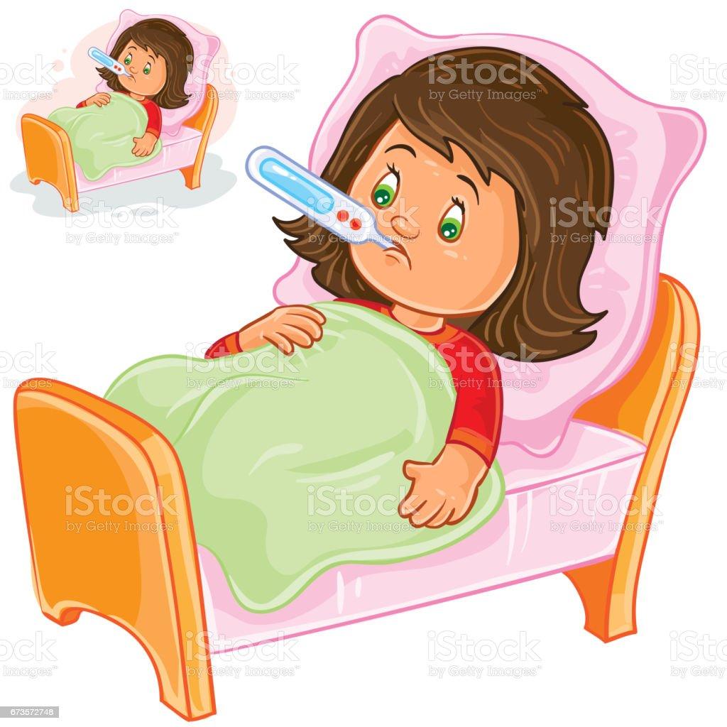 Vektorkrankes Madchen Mit Einem Thermometer Im Bett Liegt Stock