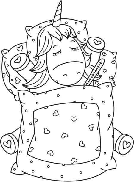 ilustrações de stock, clip art, desenhos animados e ícones de vector sick unicorn with thermometer in bed. - unicorn bed