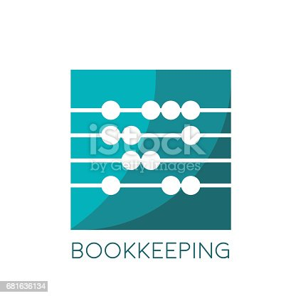Vector sign abacus, bookkeeping concept