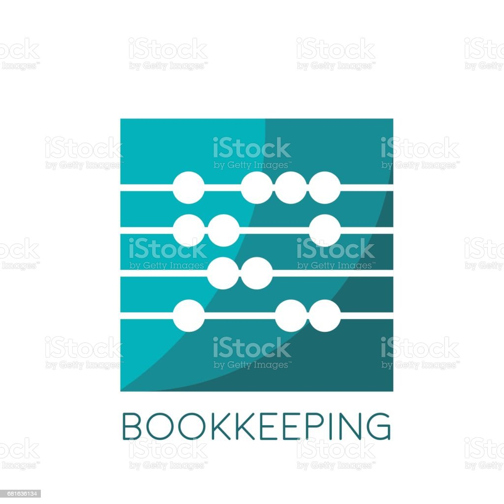 Vector sign abacus, bookkeeping concept vector art illustration