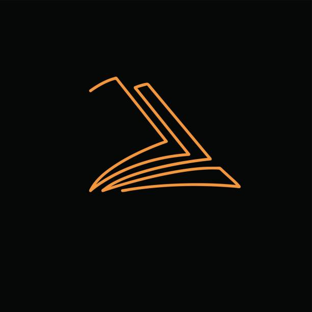 Vector sign abstract book, in linear style  on black background vector art illustration