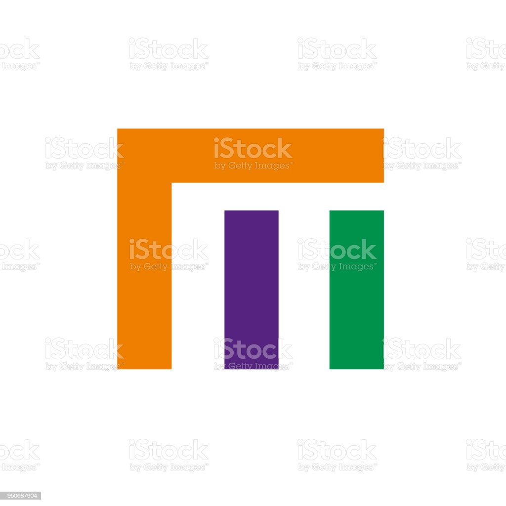Vector Sign Abstract Broken Letter M Stock Illustration