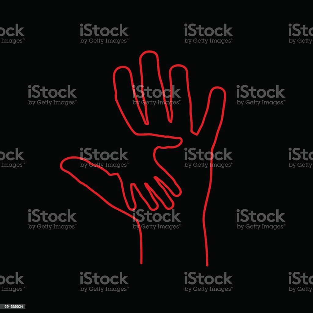 Vector sign abstract two hands, help and solidarity, in linear style on black background vector art illustration