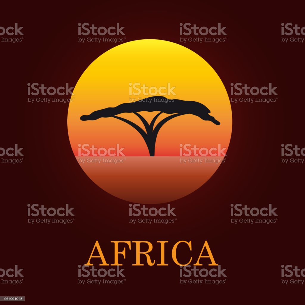 Vector sign African landscape