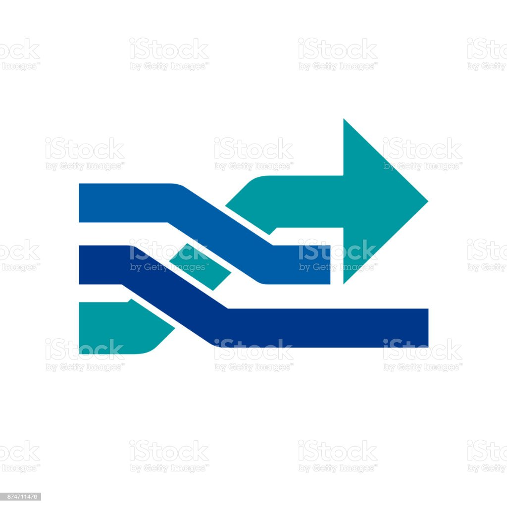 Vector sign arrow. Concept  passing to the future vector art illustration