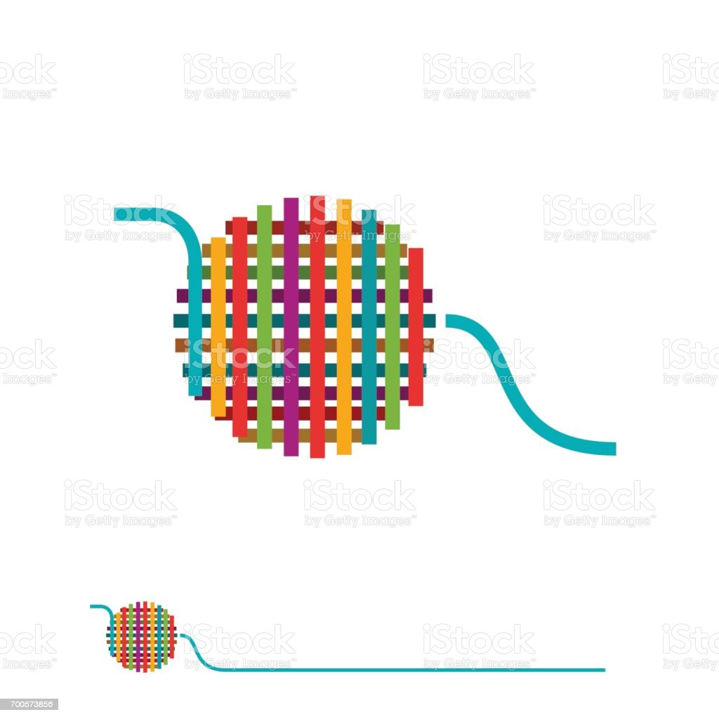 Vector sign ball of yarn vector art illustration