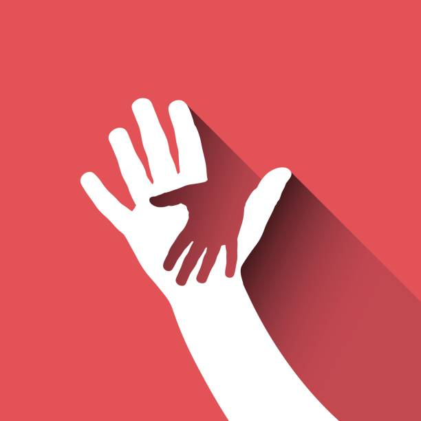 vector zeichen hand für kinder - adoption stock-grafiken, -clipart, -cartoons und -symbole