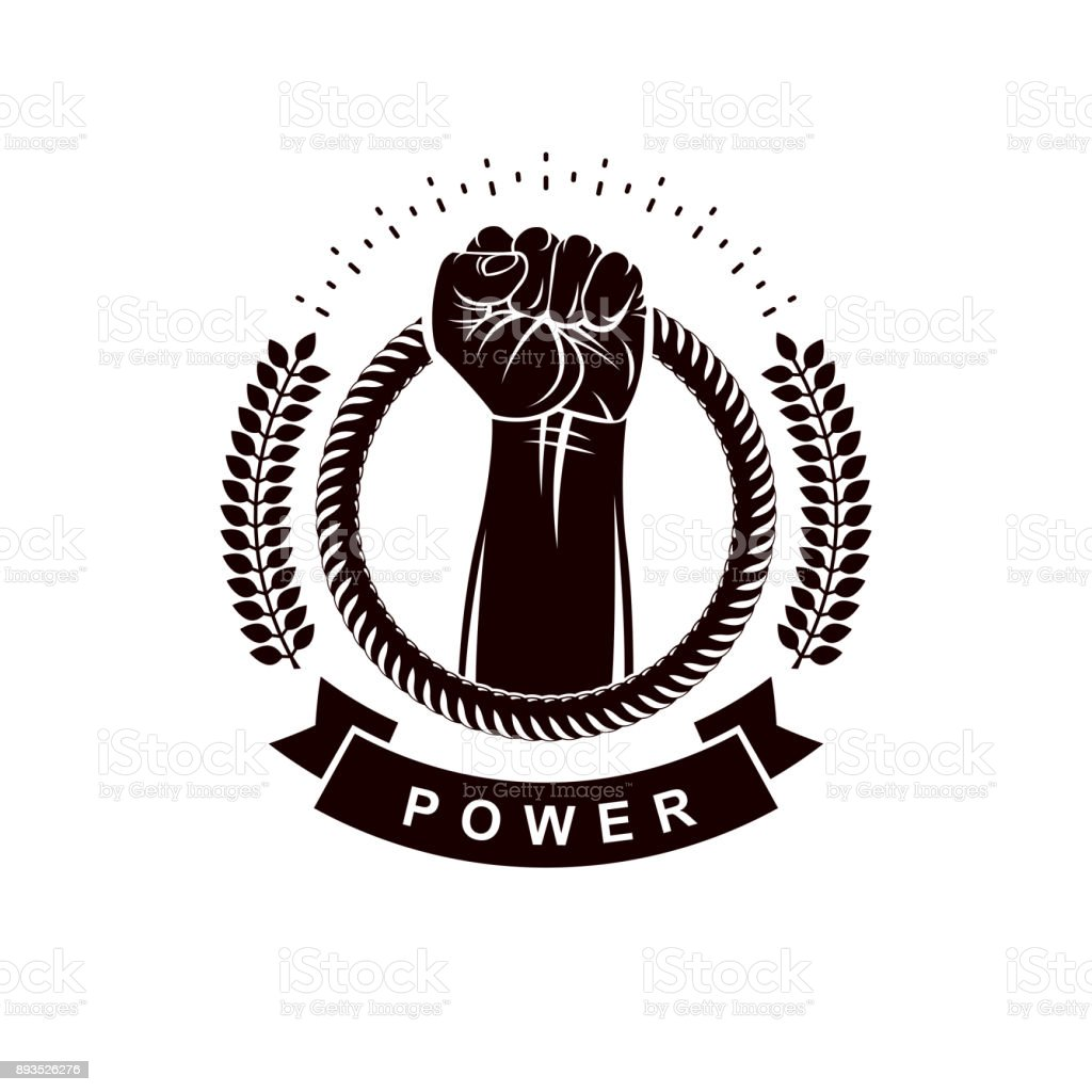 Vector sign composed using strong muscular raised arm surrounded by rope. Proletarian leader abstract symbol. vector art illustration