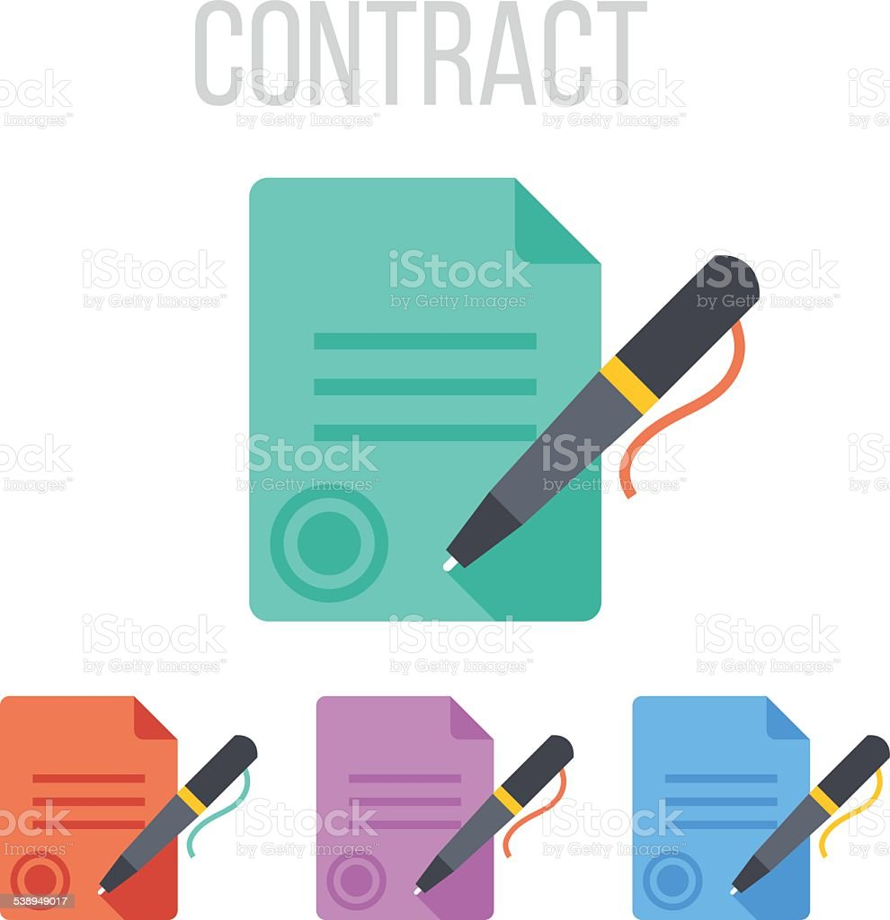 Vector sign contract icons vector art illustration