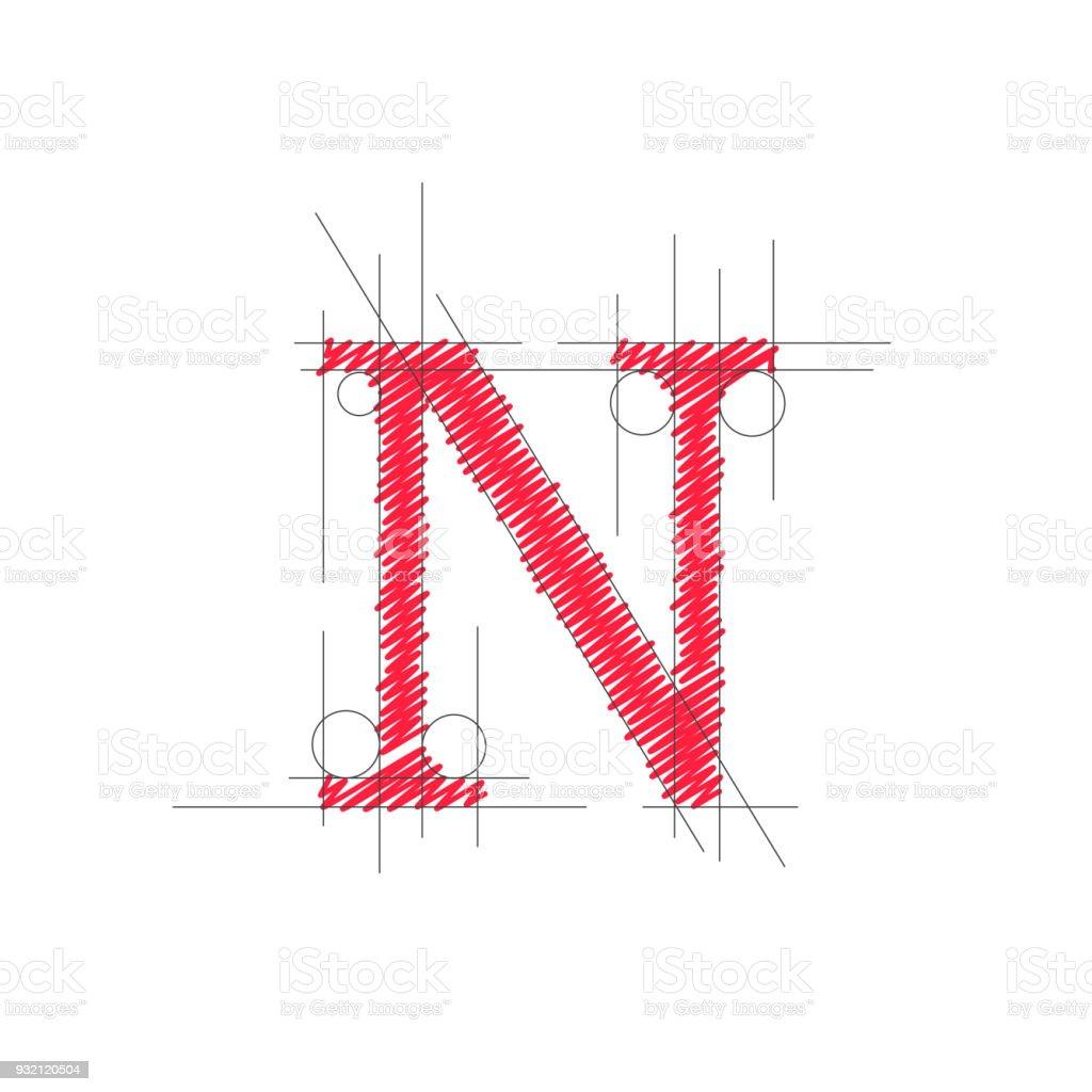 Vector Sign Design Letter N Royalty Free Stock Art
