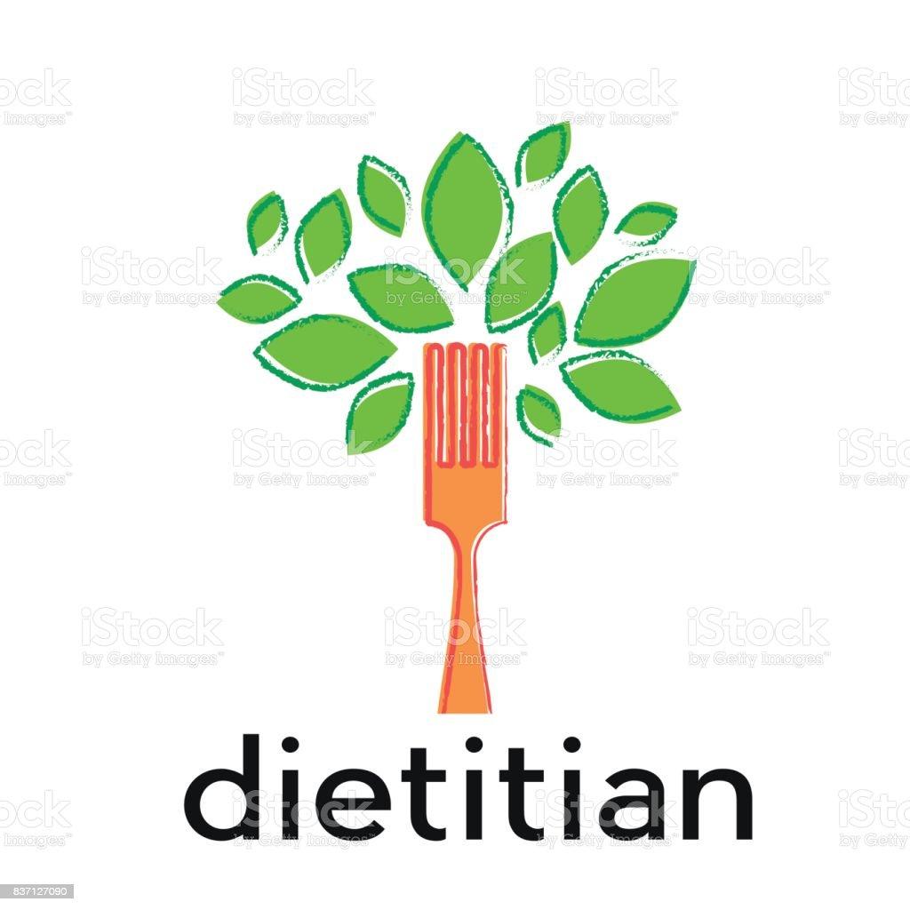 Vector signe diet, diététicienne. Feuilles d'arbres wit et fourche - Illustration vectorielle