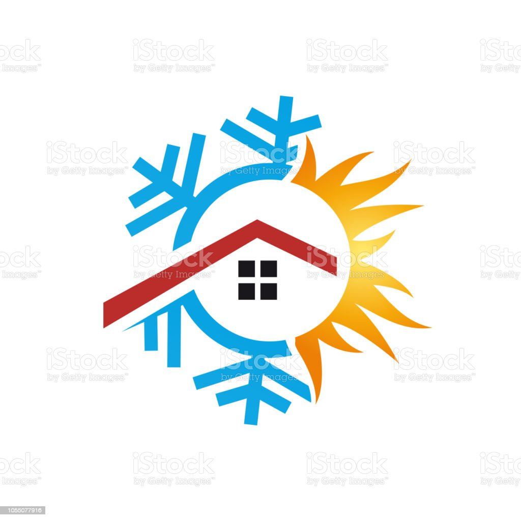 Vector sign domestic heating and cooling. Abstract illustration