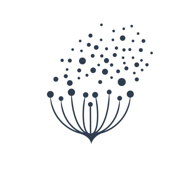 Vector sign flower seeds flying in the wind Vector sign flower seeds flying in the wind pollen stock illustrations