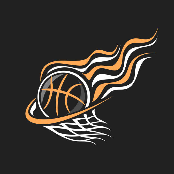 Vector sign for Basketball Vector sign for Basketball, decorative badge with burning basketball ball flying on trajectory in basket with net on black background, sports chalk sketch on blackboard. basketball hoop stock illustrations