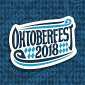 Vector sign for beer festival Oktoberfest on seamless pattern, original brush font for word oktoberfest 2018, lettering typography sign, cut paper october fest sticker on blue rhombuses background.