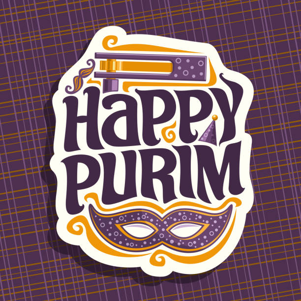 vector sign for happy purim - purim stock illustrations, clip art, cartoons, & icons