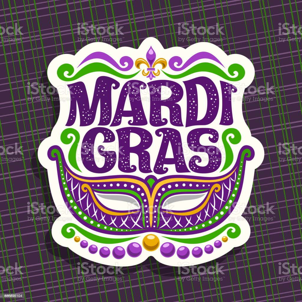 Vector sign for Mardi Gras vector art illustration