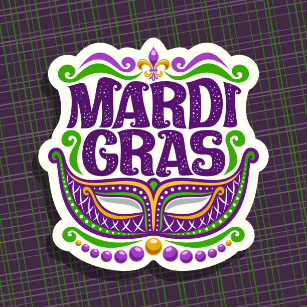 Vector sign for Mardi Gras Vector sign for Mardi Gras Carnival, poster with venetian masquerade mask, symbol fleur de lis, original font for festive text mardi gras on dark abstract background, sign for carnival in New Orleans. mardi gras stock illustrations