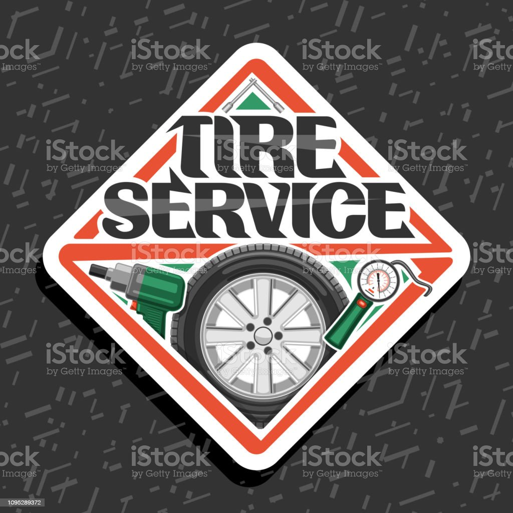 Vector sign for Tire Service vector art illustration